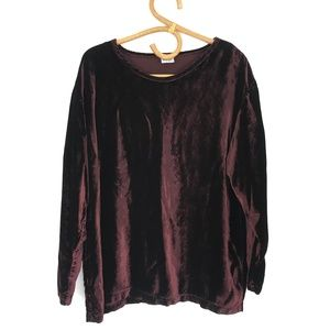 CP Shades Maroon Velvet Long Sleeve Crew Neck Top